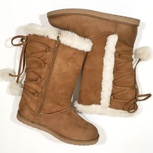 Sonoma Boots with Fur, Faux Lace Up Back